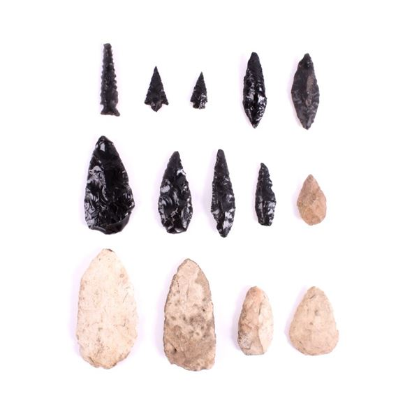 Early Archaic Obsidian & Flint Point Collection