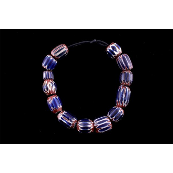 Large Six Layer Chevron Trade Bead Necklace