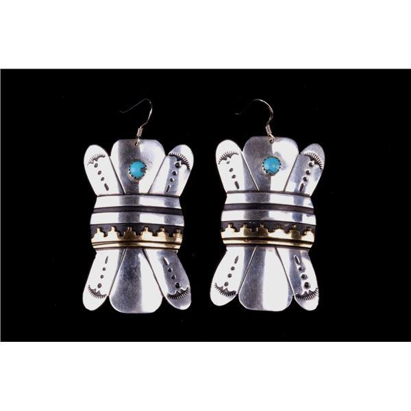 Navajo T&R Singer Sterling Silver & Gold Earrings