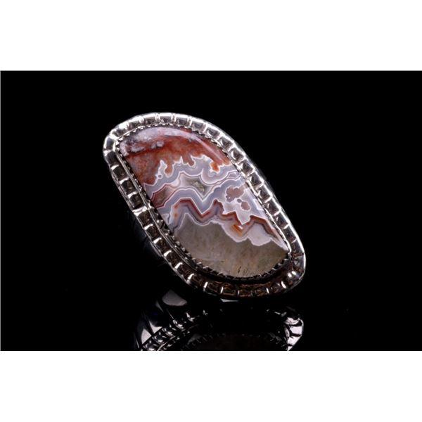 Navajo Herbert Tsosie Sterling Silver Agate Ring