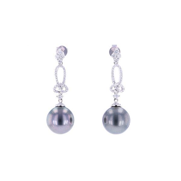 Scarce Black Tahitian Pearl Diamond 14K Earrings