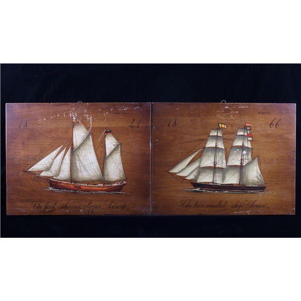 19th Century B Darte F Conz Sailing Ship Paintings