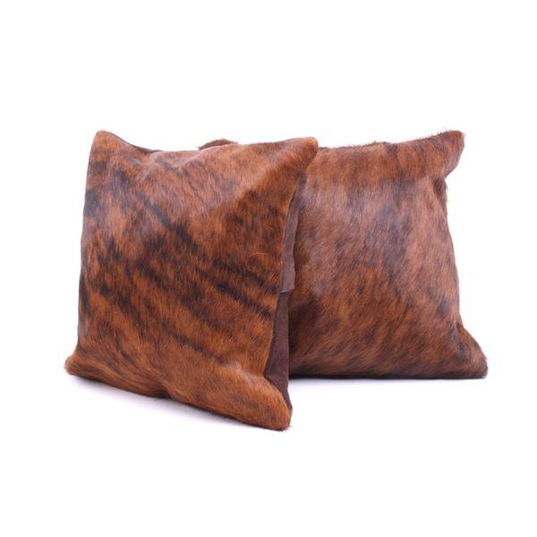 Brindle Brown & Black Cowhide Premium Two Pillows