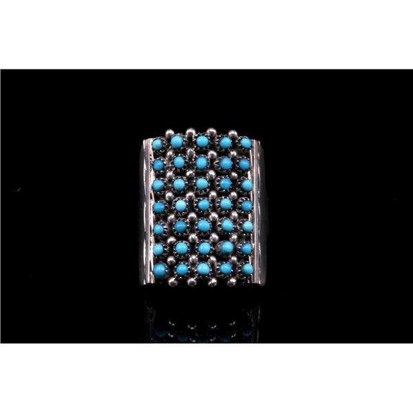 Zuni Haloo Petite Point Turquoise & Sterling Ring