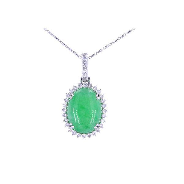 Jadeite & Natural Diamond 14K White Gold Necklace