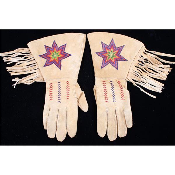 Montana Crow Beaded Tanned Hide Gauntlet Gloves