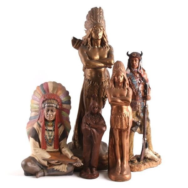 Collection of Ceramic American Indian Statues