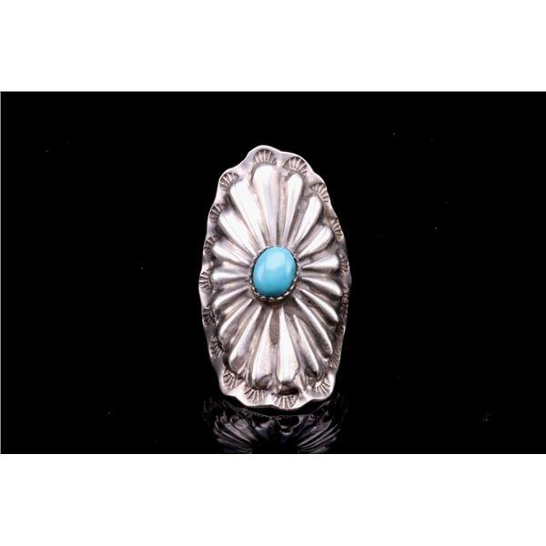 Navajo Sterling Sleeping Beauty Floral Ring