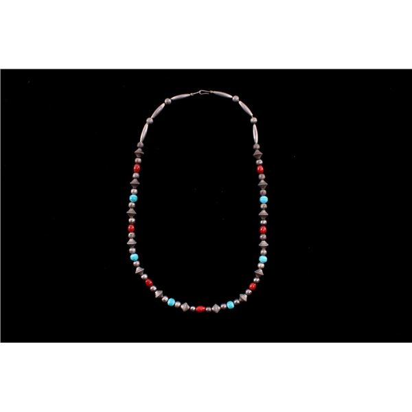 Navajo Turquoise Coral & Silver Bead Necklace