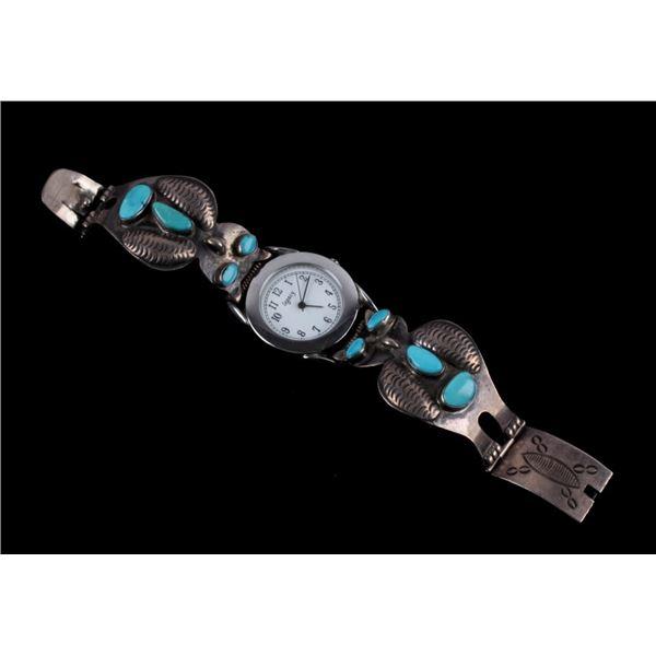Navajo Silver & Turquoise Owl Effigy Watchband