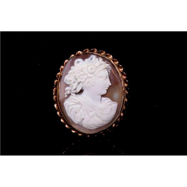 Cameo Carved Shell Portrait Brooch ca. 1890