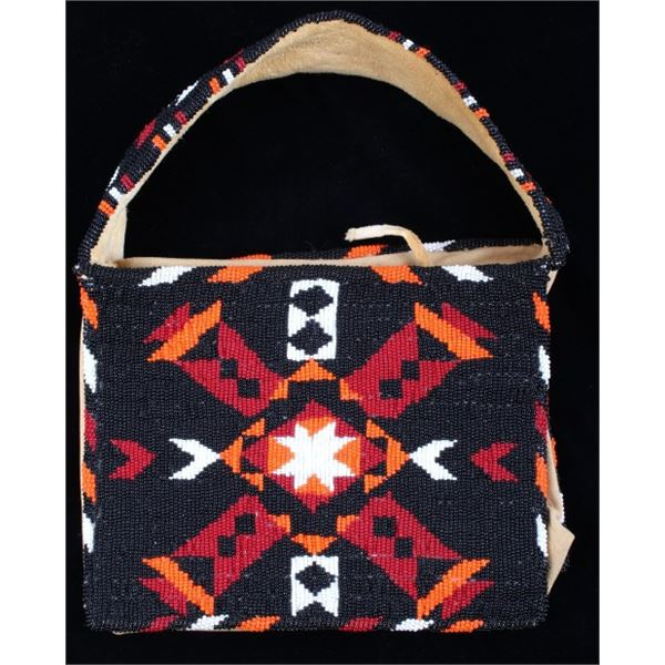 Montana Crow Fully Beaded Tanned Hide Flat Bag
