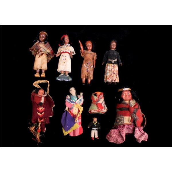Collection of Variety Skookum Dolls c. 1920s-70s