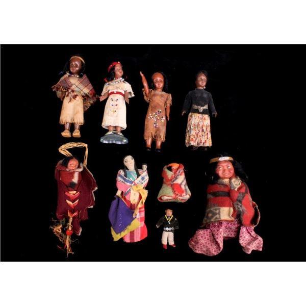 Collection of Variety Skookum Dolls c. 1920s-70s