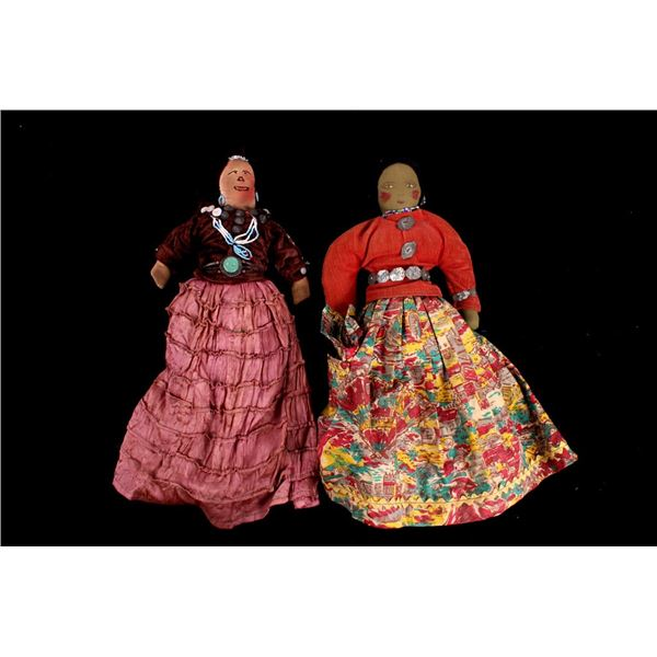 Early Navajo Embroidered Doll Pair circa 1920's
