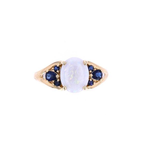 Australian Opal Blue Sapphire & Diamond 14k Ring