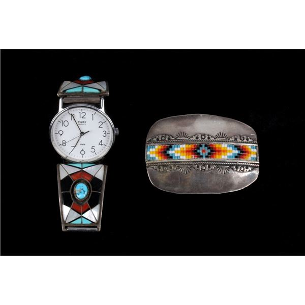 Navajo Sterling Silver Inlaid Watchband & Buckle