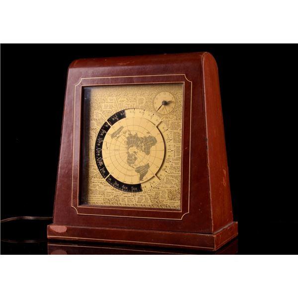 Kalex Brass Leather Mantle World Clock c. 1950