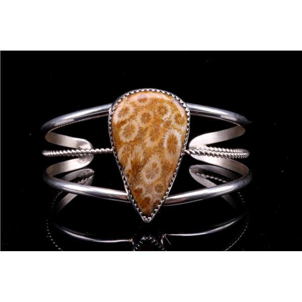 Navajo Petrified Coral Sterling Silver Cuff