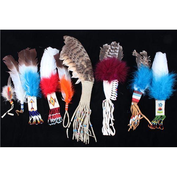 Flathead Indian Beaded Feather Dance Wands
