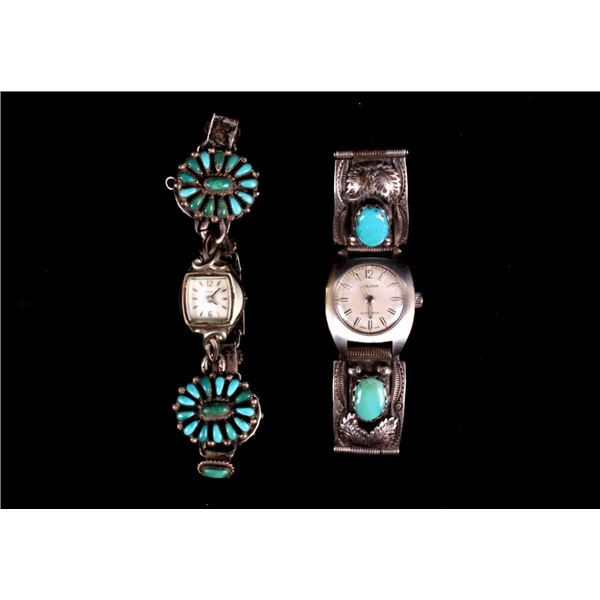 Pair of Two Navajo Stainless Turquoise Watches