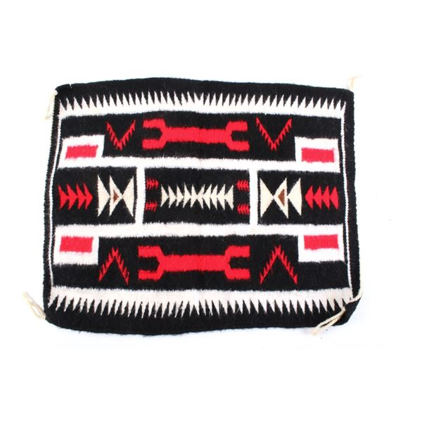 Navajo Two Grey Hills Style Woven Small Wool Rug