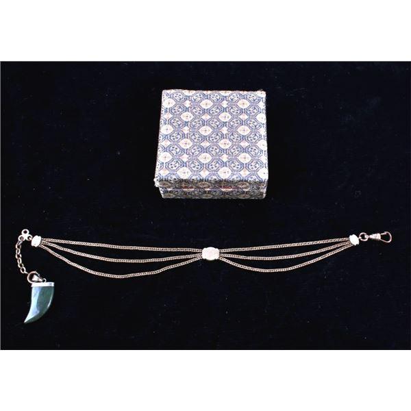 Pocket Watch Chain & Jade Claw Fob & Box