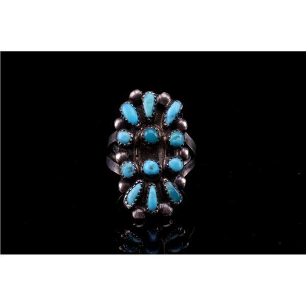 Navajo Old Pawn Silver & Turquoise Ring C.1930's