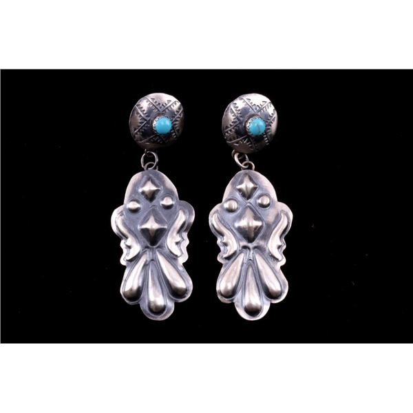 Navajo Yazzie Sterling Silver Turquoise Earrings