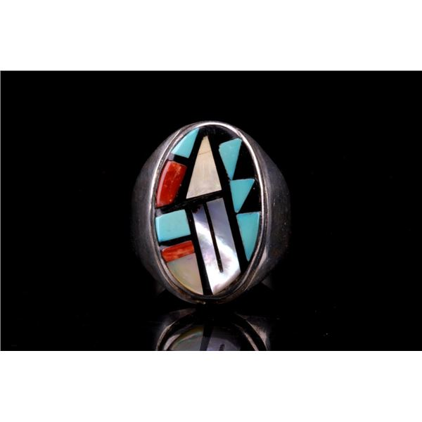 Zuni Running Bear Mosaic Inlay Sterling Ring