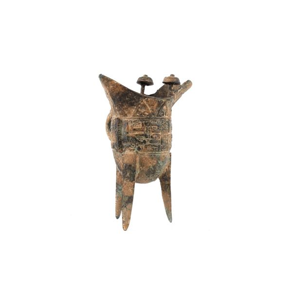 Early Chinese Jue Copper Tripod Wine Vessel