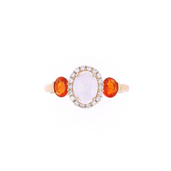 Australian Opal & Fire Opal Diamond 14k Gold Ring