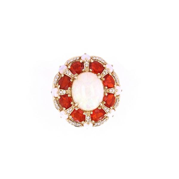 Ethiopian Opal & Fire Opal Diamond 14k Gold Ring