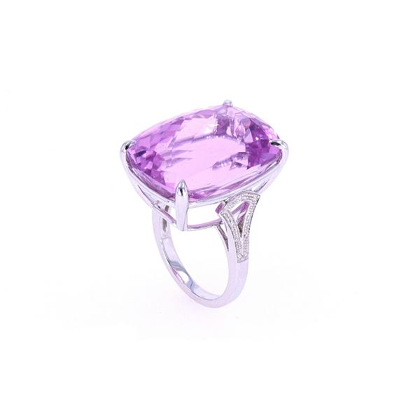 Kunzite & Brilliant Diamond 14k White Gold Ring
