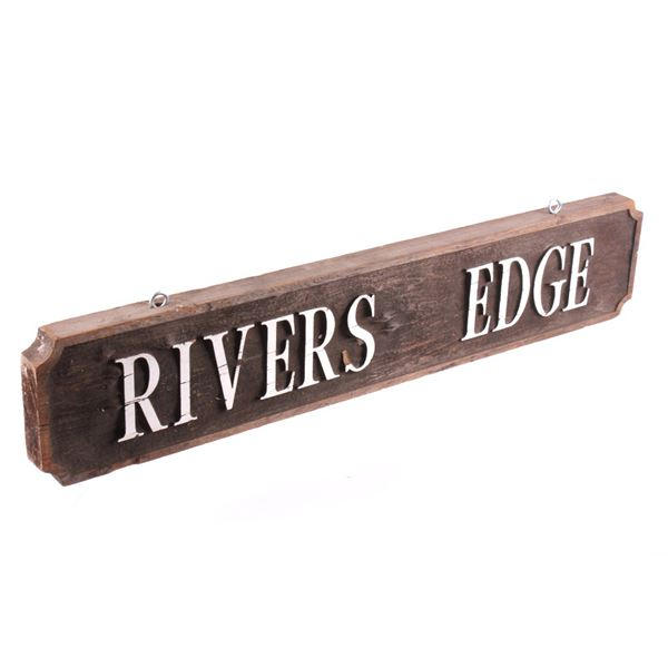 Wooden River's Edge Bozeman, MT Advertisement Sign
