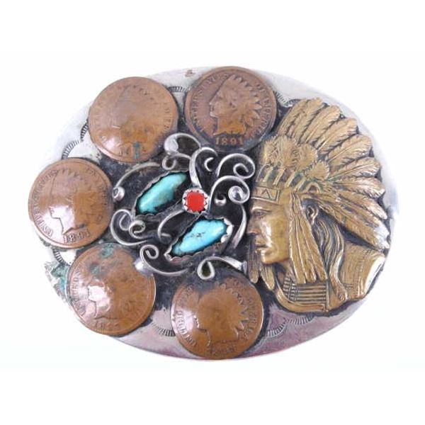 Navajo Turquoise Coral & Penny Belt Buckle