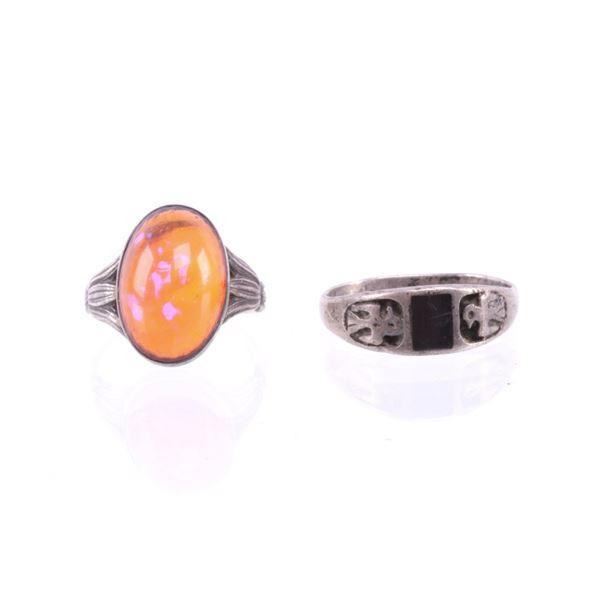 Pair of Navajo Sterling Silver Gemstone Rings