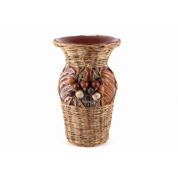 Wicker Wrapped Harvest Flower Vase c. 20th C.
