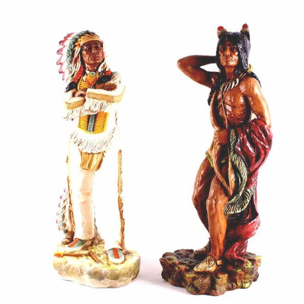 Large Native American Chief & Brave Resin Statues