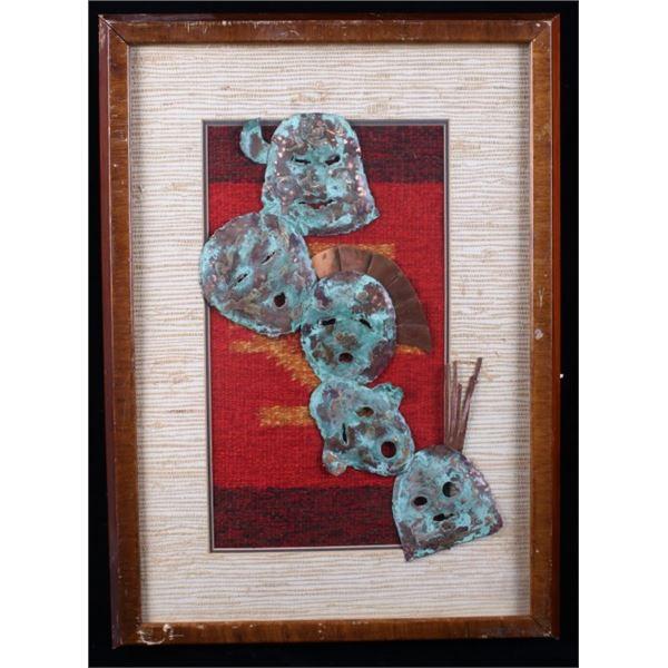 Copper Mask & Woven Blanket Framed Art