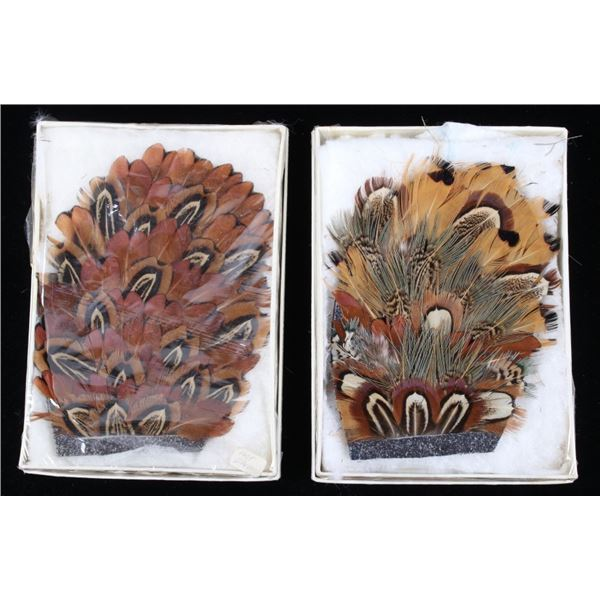 Pheasant Feather Hand Made Hat Plumes & Boxes