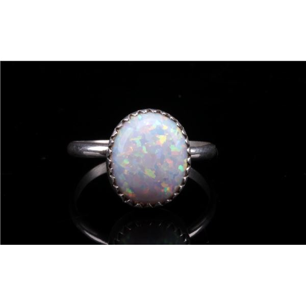 Navajo Sterling Silver and Opal Ring