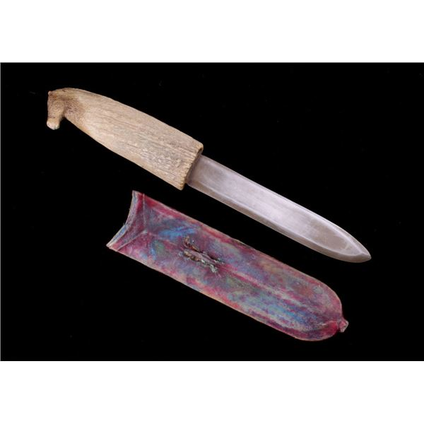 Horse Head Carved Antler Knife & Parfleche Sheath