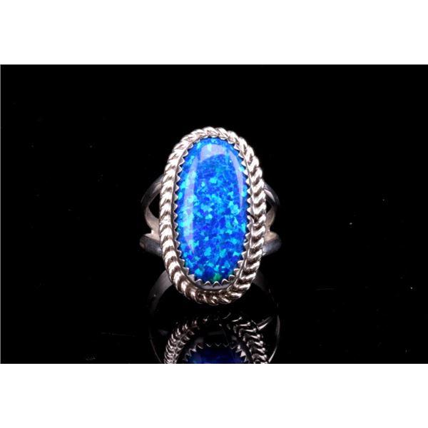Navajo Herbert Tsosie Blue Opal Sterling Ring