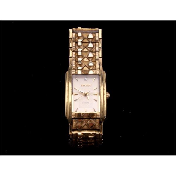 Art Deco Elgin Diamond Gold Tone Wrist Watch