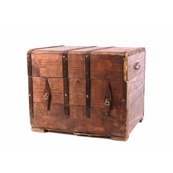 Pine Wooden Banded Keepsake Chest c. Mid 1900's