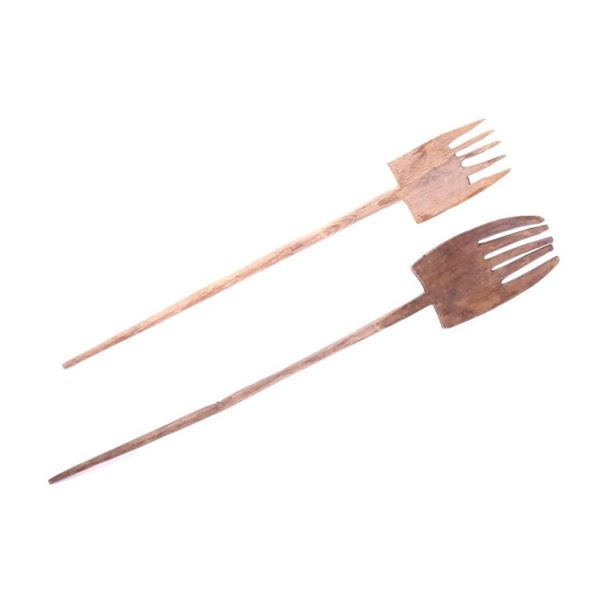 Early 1900's Primitive Wood Carved Pitch Forks