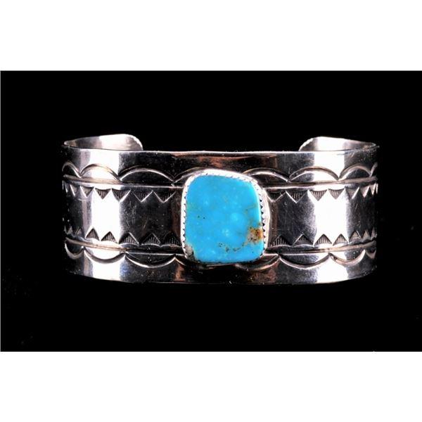 Navajo Sleeping Beauty Silver Bracelet Cuff
