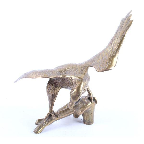 Polished Brass Bald Eagle Landing Statue