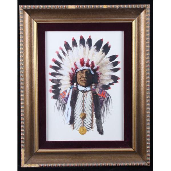 Original Native American Chief Oil Painting